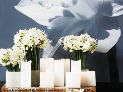 Přivítejte Thallo, bohyni jara, svazky bílých narcisů v hranatých bílých vázách. Aranžmá s náboženským nádechem doplní velké svíce