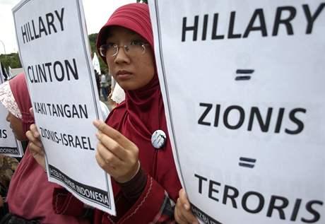Protest proti návštěvě Hillary Clintonové v Jakartě (16. února 2009)