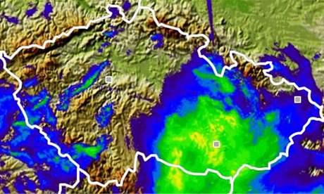 Aktuální mapa srážek na jižní Moravě - 10. února 2009 v 16:00