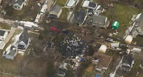 Místo neštěstí v Clarence, kde se zřítil letoun Bombardier Dash 8 Q400 (14. únor 2009)