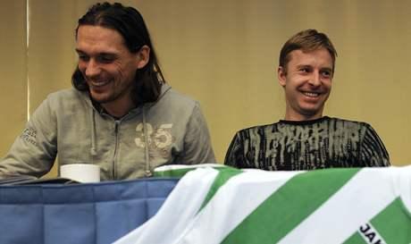 Hráči střížkovských Bohemians Marek Kincl (vlevo) a David Zoubek na tiskové konferenci.