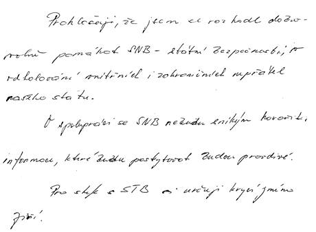 Mrštinův akt psaný rukou, v němž se hlásí ke spolupráci s SNB