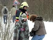 V Paskově se srazily osobní vlaky. Nehoda si vyžádala 23 zraněných, dva z nich odvezl vrtulník. (16. února 2009)