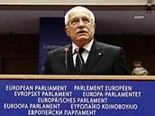 Václav Klaus při projevu v Evropském parlamentu v Bruselu (19. února 2009)