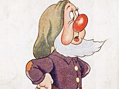 Kejchal z klasické Sněhurky natočené v roce 1937. Už před válkou znali systém podpůrné reklamy, dostala se i na pohlednice