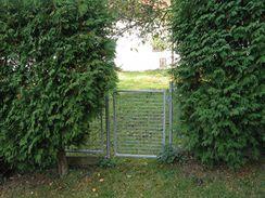Subtilní kovový plot doplněný vzrostlými jalovci.
