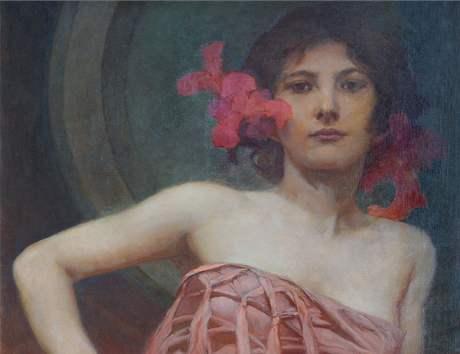 Alfons Mucha: Portrét dámy (olej, nedatováno)