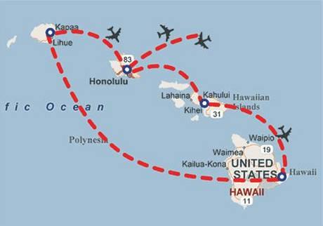 Mapa Havajského souostroví.