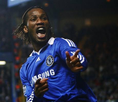Chelsea - Juventus, Drogba oslavuje svůj gól.