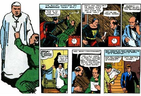 Z prvního vydání komiksu o Supermanovi (Action Comics #1) z roku 1938