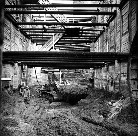 Stavba stanice Florenc 13. března 1972