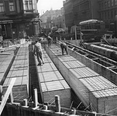 Stavba stanice Florenc 4. dubna 1972