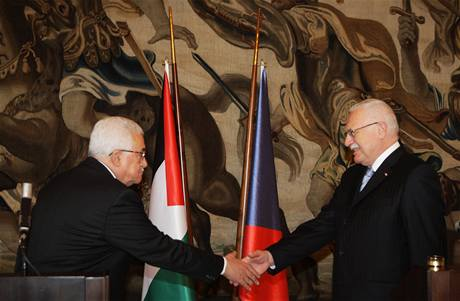 Palestinský prezident Mahmúd Abbás navštívil Českou republiku