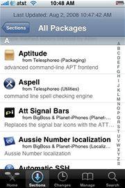 Prostředí aplikace Cydia