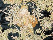 Alfons Mucha: Paní s kopretinami (potištěný samet, 1898-1899)