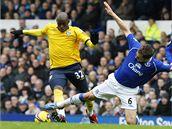 Everton - West Bromwich: domácí Jagielka (vpravo) a Fortune