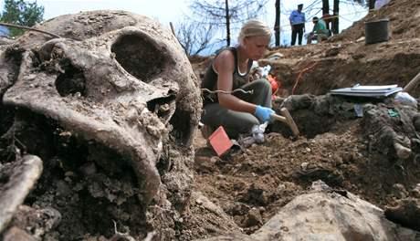 Jeden z masových hrobů poblíž Srebrenice.