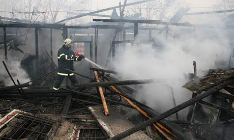 Požár Slováckého tenisového klubu v Břeclavi