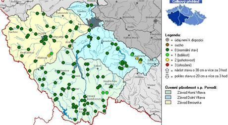 mapa - povodí Vltavy - 5. březen 2009