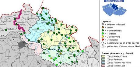 mapa - povodí Labe - 5. březen 2009