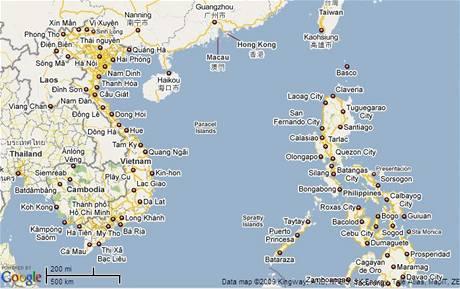 Mapa Jihočínské moře