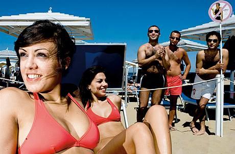 Pláž v Riccione, Itálie