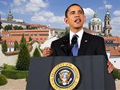 Prezident Barack Obama ve Vrtbovské zahradě.