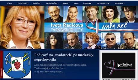 Internetové stránky Ivety Radičové.