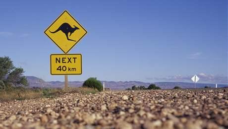 Na nebezpečí střetu s klokany na cestách pamatují v Austrálii i dopravní značky