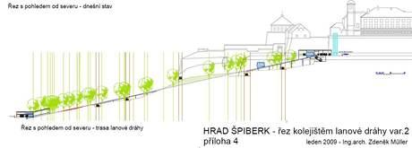 Vizualizace plánované kolejové lanové dráhy na Špilberk