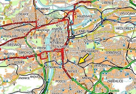 Mapa - Vršovické nádraží