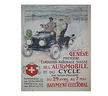 Plakát zvoucí na první ženevský autosalon