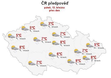 Předpověď počasí na pátek 13. března.