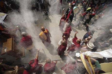 Protesty proti čínské nadvládě nad Tibetem v nepálském Káthmándú (10. března 2009)
