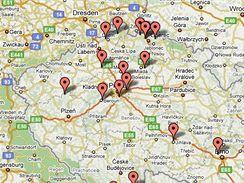 Mapka republiky s vyznačenými místy nejzajímavějších tras pro vycházky se psem.