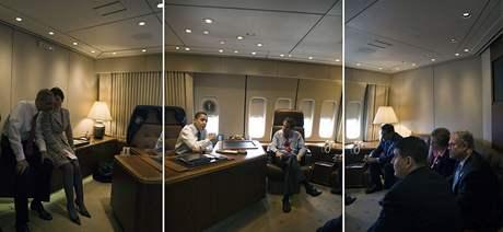 Americký prezident Barack Obama na palubě Air Force One
