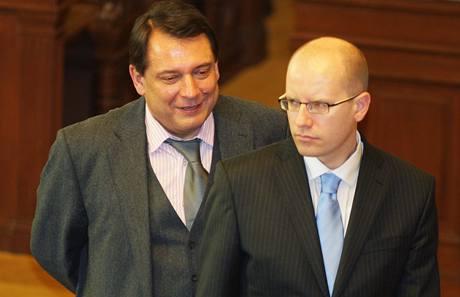 Jiří Paroubek a Bohuslav Sobotka. (24.3.2009)