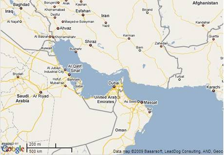 Mapa Hormuzský průliv