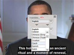Výběr automatických titulků na YouTube