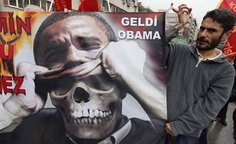 Demonstrace proti Obamovi v Turecku (6. dubna 2009)