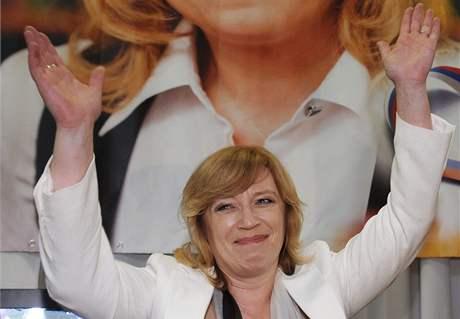 Iveta Radičová po prohraných prezidentských volbách. (5. dubna 2009)
