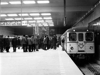 Zkušební jízda 29.12.1973 -stanice Muzeum