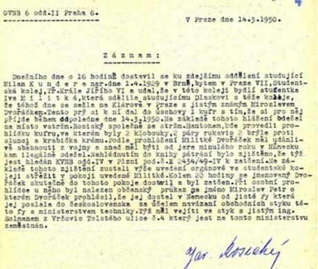 policejní zápis údajného udání Milana Kundery