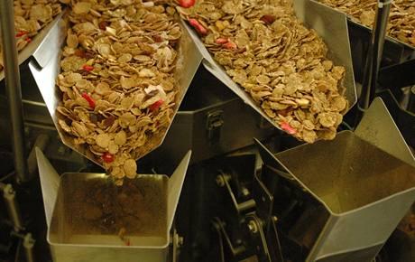 Promíchávání lupínků s jahodami