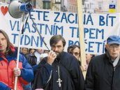 Libor Halík protestuje na náměstí Svobody v Brně proti potratům