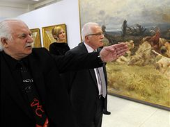 Národní galerie. Otevření expozic moderního a současného umění se zúčastnil i prezident Václav Klaus. Výstavou ho provází ředitel NG Milan Knížák.