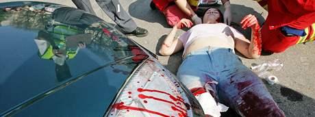 Cvičná nehoda na Moravském náměstí v Brně