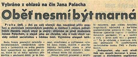Noviny před 40 lety: Komentář k Janu Palachovi