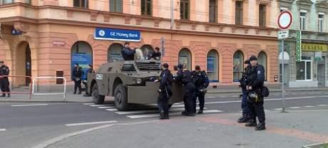 Bezpečnostní opatření v centru Ústí nad Labem. (18. dubna 2009)