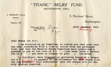 Dopis, který obdržela matka Millviny Deanové od fondu na pomoc přeživším cestujícím Titaniku.